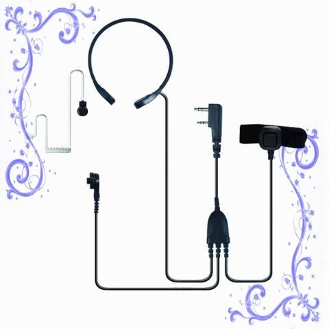 雙MIC小喉振耳機,空氣導管矽膠耳塞 泛宇無線電對講機